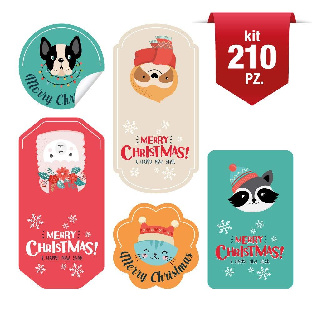 kina CHBN0006-210 Etichette adesive Decorazione per Sacchetto Regalo Natale Chiudi Buste