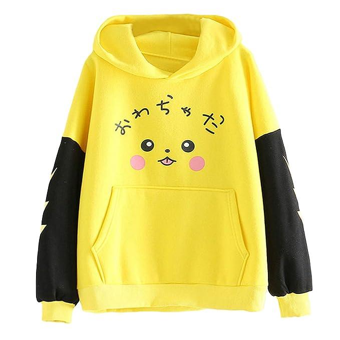 Sudadera con Capucha y Forro Polar de Pikachu Sudadera con Capucha y Bolsillo de Color Block