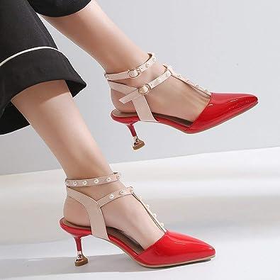 Coolulu Damen High Heels Stiletto Sandaletten T-Spange Schuhe Sandalen  Sommer mit Perlen 7cm Absatz(Rot,34)  Amazon.de  Schuhe   Handtaschen 113597b2c2