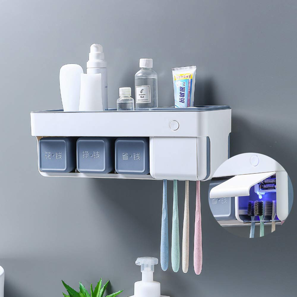 Smart Toothbrush Holder with Toothbrush Sterilizer Wall Mounted, Toothpaste Squeezer Dispenser Bathroom Mouth Cup Storage Box Free of Punch for Home