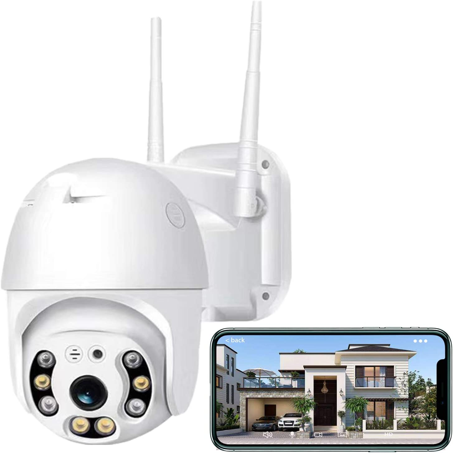 Security Camera Outdoor,Iposter 1080P HD WiFi Home Security Camera System,Wireless Security Camera with 360° View,AI Motion Detection,2-Way Audio Full Color Night Vision IP66 Waterproof