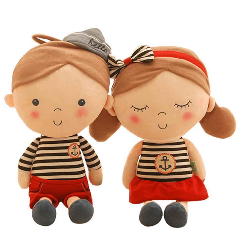 Couple Black Stripe 32cm 12.6  RemeeHi Couple of Stripe Cloth Baby Boys and Girls 2pcs Cloth Doll Plush Toys (Red Stripe 55cm 21.6 )