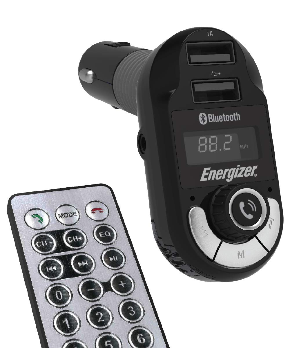 Premier Energizer Bluetooth FM Transmitter for Car Universal Audio Adapter Wireless Hands-Free Calling MP3 Charger 2 USB Ports, Remote Control inc. w MMC/SD Card Reader by Premier