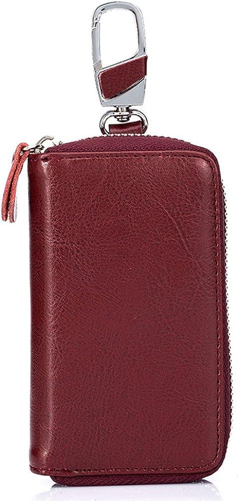 Aladin Unisex Large Leather Key Case Wallet with 12 Hooks & 1 Keychain/Ring