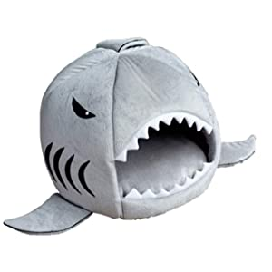 KOJIMA Cute Color Shark Round House Puppy Bed with Pet Bed Mat