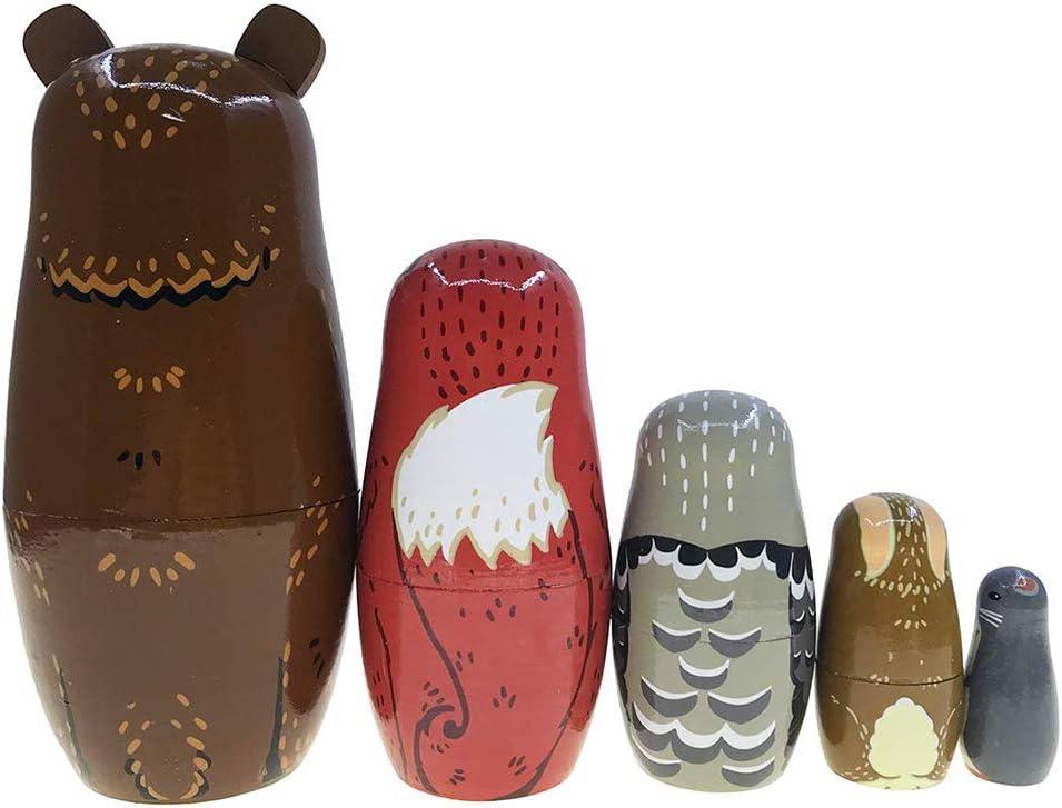 LbojailiAi 5 Teile//Satz Nette Verschachtelung Kinder Spielzeug B/är Fuchs Tier Holz Russische Matroschka Puppen Mehrfarbig