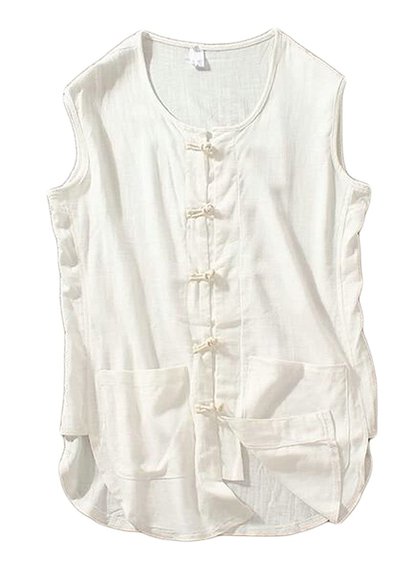 BYWX-Men Linen Chinese Style Frog Button Sleeveless Tank Top T-Shirt White US M