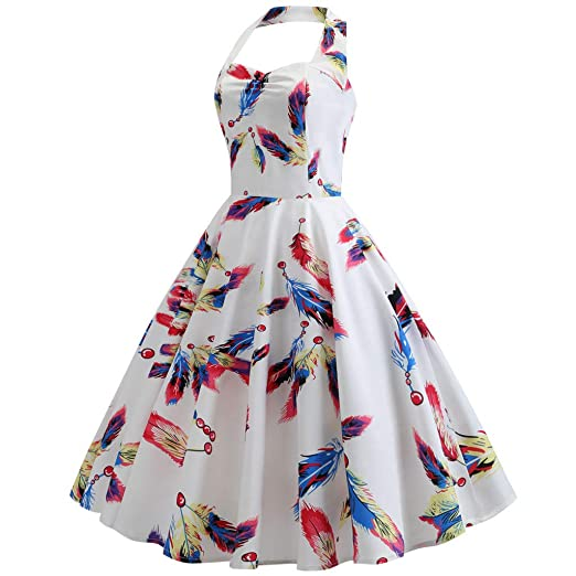 b3ee90889d95 BB67 Women Dress, Halter Neck Sleeveless Feather Print Pleated Swing Dress  White