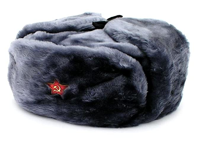 7d14026fd18 Image Unavailable. Image not available for. Color  Authentic Russian  Military Gray Ushanka Hat Red ...