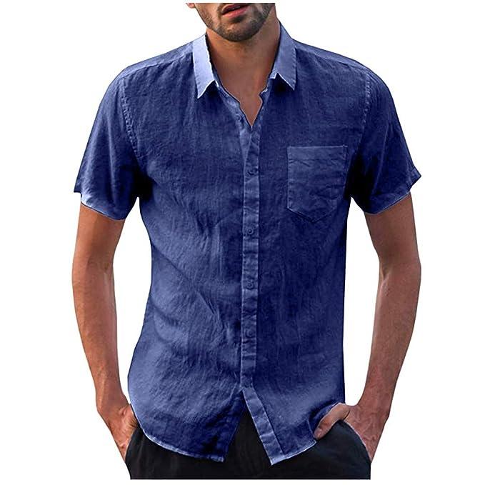 Damen Mode Sommer Rundhals Kurzarm Revers-Knopf Leinen Bluse T-Shirt Hemd Tops
