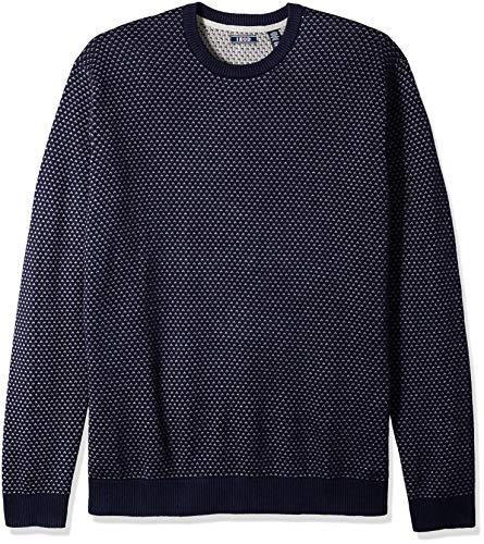 IZOD Men's Big and Tall Jacquard 9 Gauge Crewneck Sweater, Light Grey Heather, 4X-Large