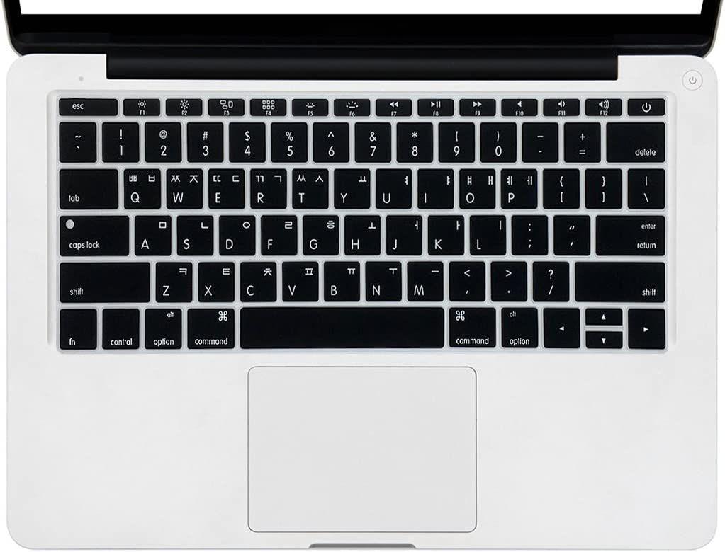 """HRH Korean Language Silicone Keyboard Cover Skin for MacBook New Pro 13"""" A1708 A1988 No Touch Bar (2018 2017 2016)&MacBook 12"""" A1534 with Retina Display(2015)&A1931(2018) USA Keyboard Protector-Black"""