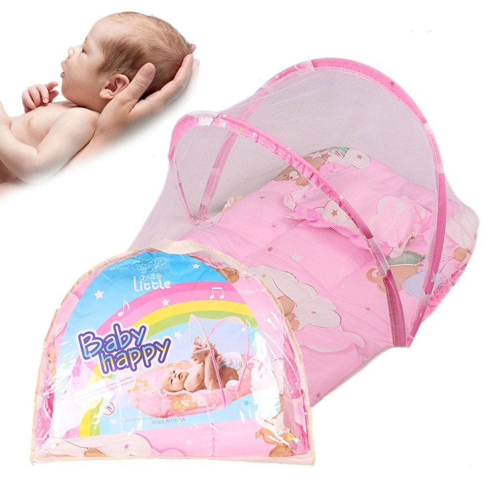 Candora 0-2 Years Baby Bed Portable Folding Travel Cot Crib Bed Canopy Mosquito Net Tent With Pillow candora-yec-f