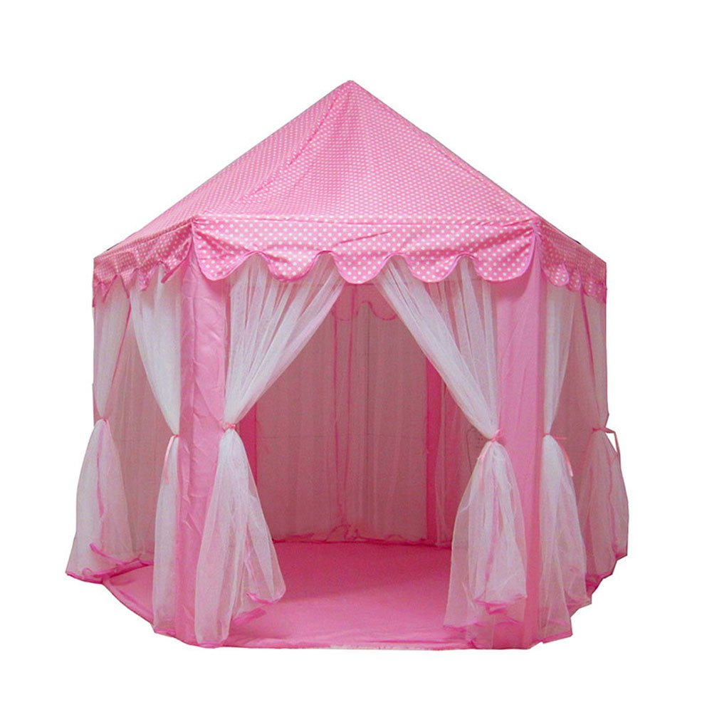 Lovinland Princess Castle Play House Large Kids Play Tent 1.4m Diameter for Girls Pink