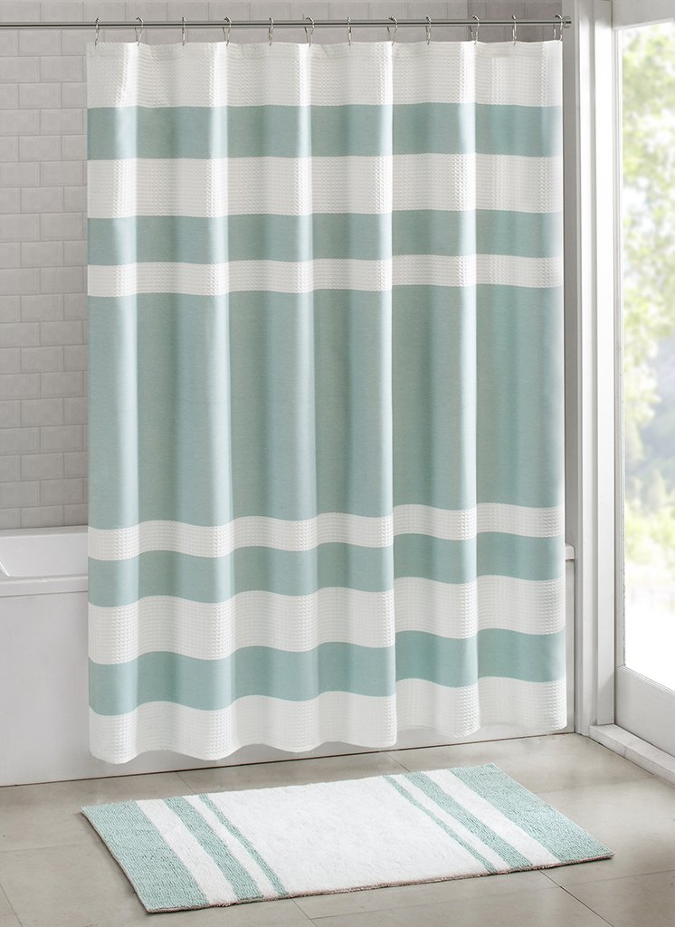 Amazon.com: Madison Park - Spa Waffle Shower Curtain With 3M ...