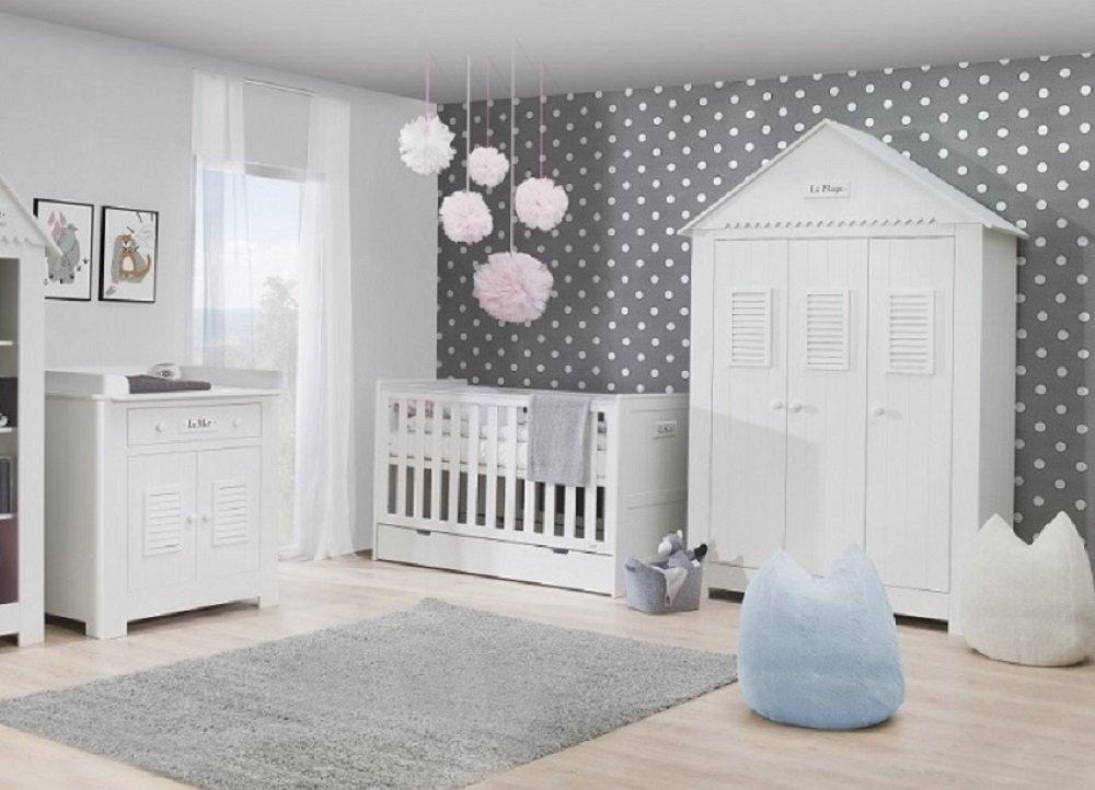 Babyzimmer Kinderzimmer Saint Tropez Weiss Mdf Komplettset C Bett
