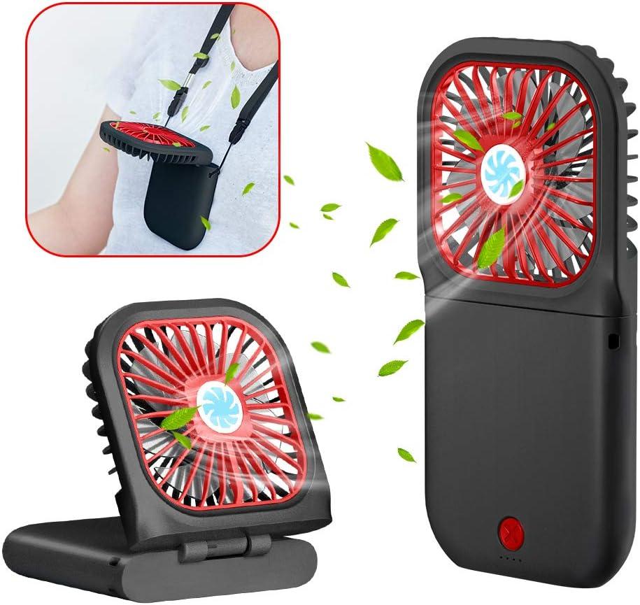 Handheld Fan, Small Personal Fan with 3 Speeds Neck Fan Rechargeable Portable Fan, Powerful Mini USB Outdoor Fan Quiet Small Desk Fan Free Angle, Good for Travel Home Office School Queue-Black