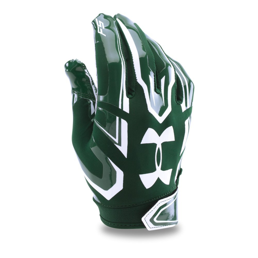 Under Armour Men's F5 Football Gloves, Forest Green/White, Small