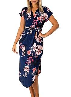 16bf0607a5e Cindeyar Womens Dresses Summer Floral Maxi Dress Print Tunic Split Casual  Short Sleeve Long Skirt