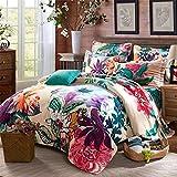 GAW Home Fashion 100% Cotton 3D 4-Piece Duvet Cover Bedding Set, King/California King,Quilt Cover(200*230Cm*1),Sheet(250*245Cm*1),Pillowcase(48*74Cm*2)