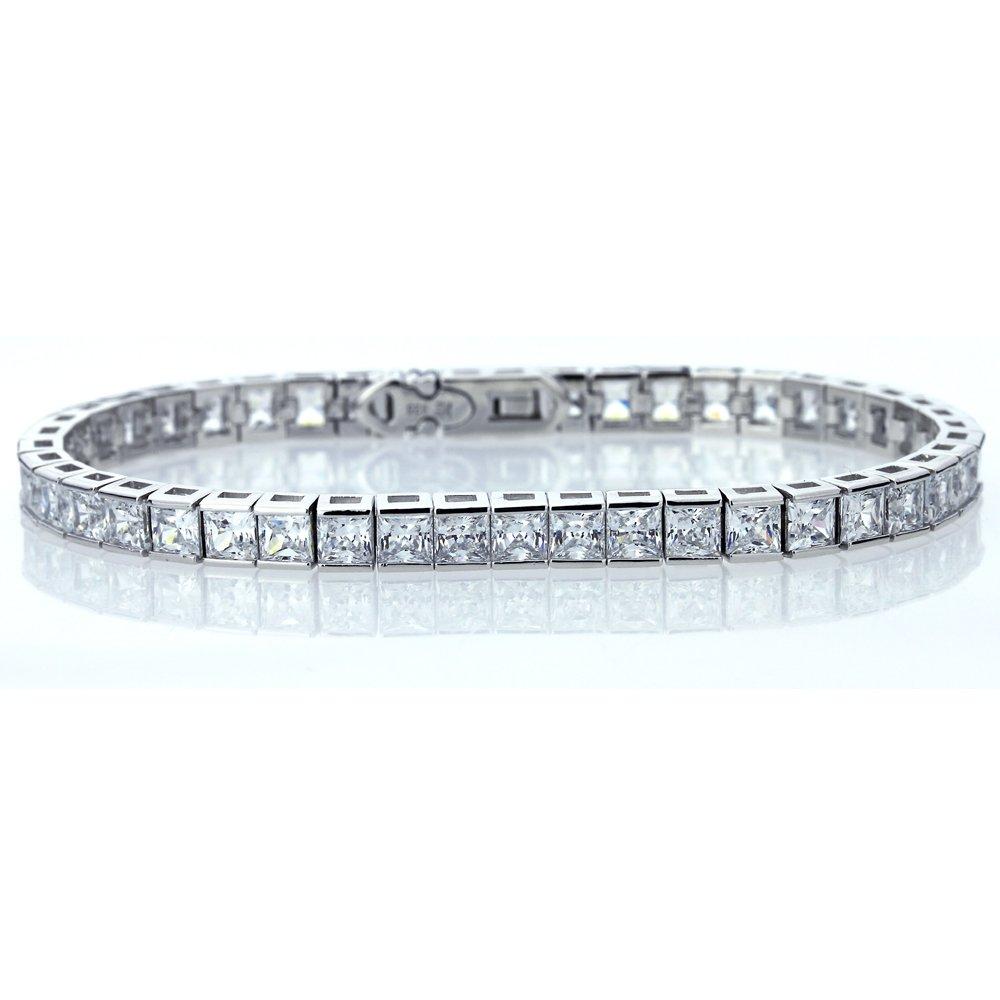 Sterling Silver Rhodium Plated 4mm Princess Square Cut Cubic Zirconia Womens Tennis Bracelet
