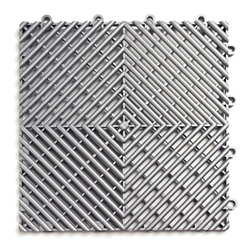 Modular Floor - RaceDeck Free-Flow Open Rib Design, Durable Interlocking Modular Garage Flooring Tile (24 Pack), Alloy