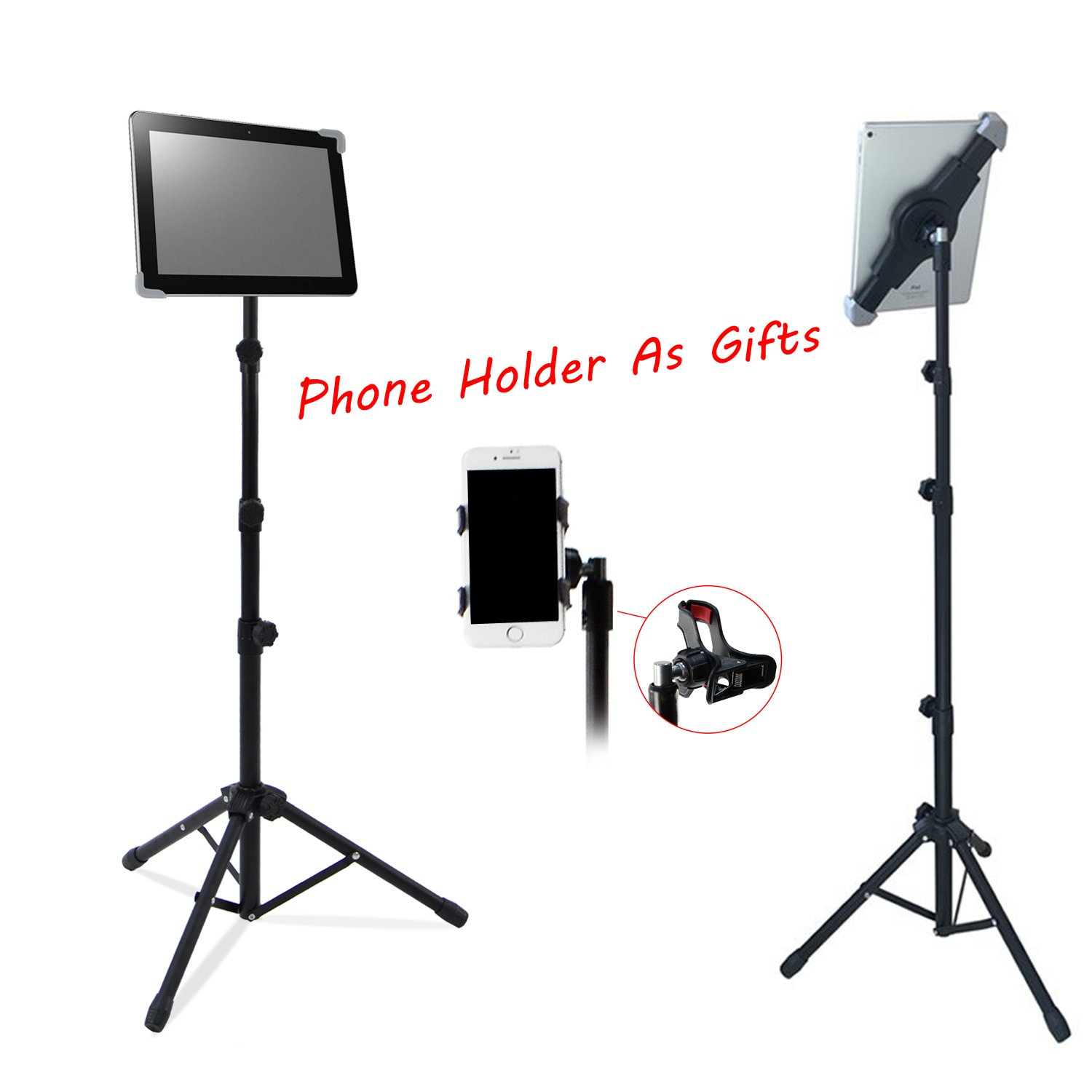T-Sign Reinforced IPad Tripod Stand Mount - Foldable Floor Tablet Holder, Height Adjustable 360 Rotating Stand for iPad Mini/Air and More 7'' to 12'' Tablets, Carrying Case and Phone Holder As Gifts by T-SIGN (Image #3)