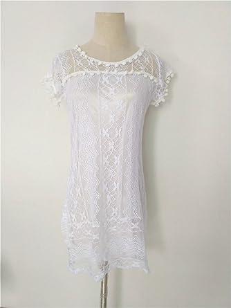 11262547e43 Image Unavailable. Image not available for. Color  Mouus Summer Dress 2018  Women Casual Beach Short Dress Tassel Black White Mini Lace ...