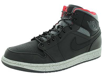 reputable site 24b7f 3f3fe Nike Herren Air Jordan 1 Mid Fitnessschuhe, Schwarz Grau Weiß Rot (
