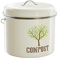 Third Rock Compost Bin for Kitchen Counter - 1 GALLON 3.8 LITER | Premium Dual Layer Powder Coated Carbon Steel Compost Bin Countertop Bucket | Includes Charcoal Filter for Kitchen Compost Bin