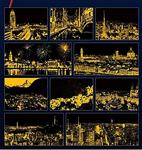 Download 'Romantic City' Scratch Book; Art Activity Book for All ages, Night View of Beautifully Illustrated 10 Cities in 10 Sheets, Easily Detached, 2 Wooden Stylus and pencils Included ebook