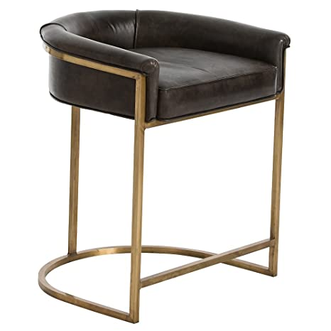 Marvelous Amazon Com Kathy Kuo Home Calvin Modern Brown Leather Low Pdpeps Interior Chair Design Pdpepsorg