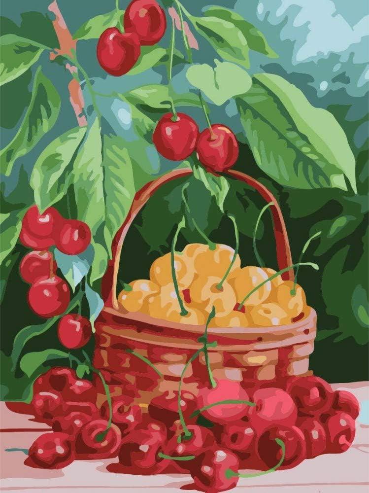 Pintura Al Óleo Digital Kit,Diy Pintura Pintada A Mano Por Números Pintura Al Óleo Digital Bodegón Fruta Cereza Moderno Abstracto Arte De La Pared Cuadros Para Sala De Estar Hogar Decorrame