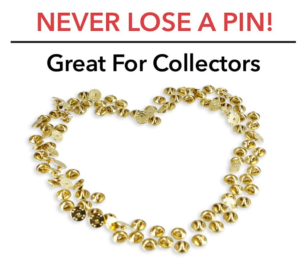 PVC Clutch- Premium Butterfly Clutch Pin Backs For Lapels Pin Keepers- USA Made Gold Deluxe Flat Back 20 Pieces