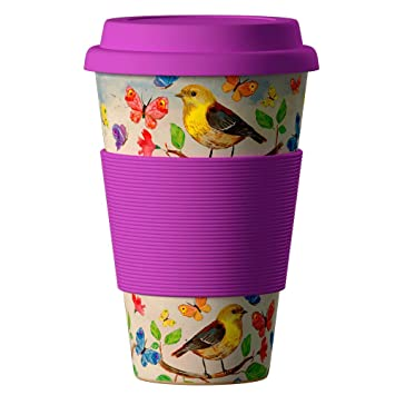 Bamboo Cup Reusable Coffee Cup with Lid and Silicone Sleeve - Bamboo Coffee Cup with Tight Seal Cover and Sip Hole - Eco Cup Made from Bamboo, ...