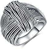 Shefashion Silver Oxidized Knot Large Statement Rings Womens Chunky Rings Thumb Rings for Women