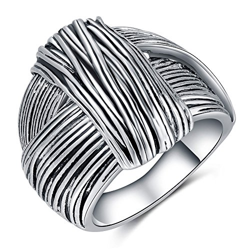 (Shefashion Oxidized Silver Vintage Stripe Knot Rings Cocktail Rings for Women (8))