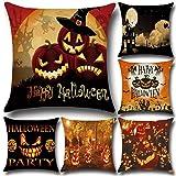 6 Pack Halloween Series Decorative Cushion Cover Cotton Linen...