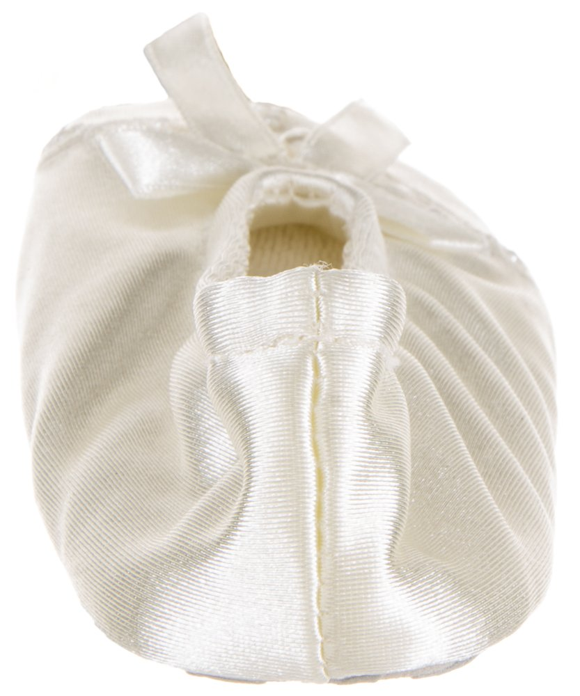 Isotoner Satin Pearl Ballerina Girl's Slippers Ivory Small 11-12 by ISOTONER (Image #6)