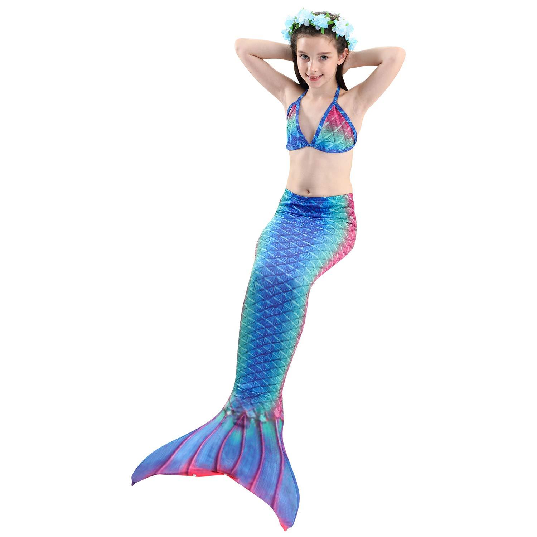 Le SSara 2018 Nuove Ragazze Mermaid Code Bikini Costume da Bagno Set 4 Pezzi Costumi da Bagno con Pinna per Nuotare Partito Cosplay