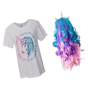Baoblaze Peluca de Pelo Rizado Camiseta Unicornio Escenario Fiesta Halloween Ocasiones Especiales Accesorio - Multicolor,