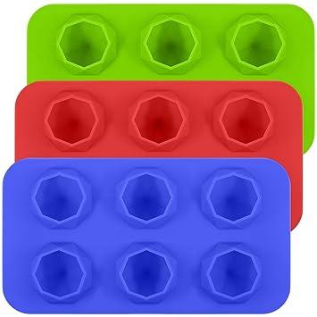 Compra Molde Silicona SENHAI Moldes y Bandejas para 3 Cubetas Para Cubitos Hielo Molde Para Pasteles Para Helado Chocolate, Disponible en Horno Refrigerador ...