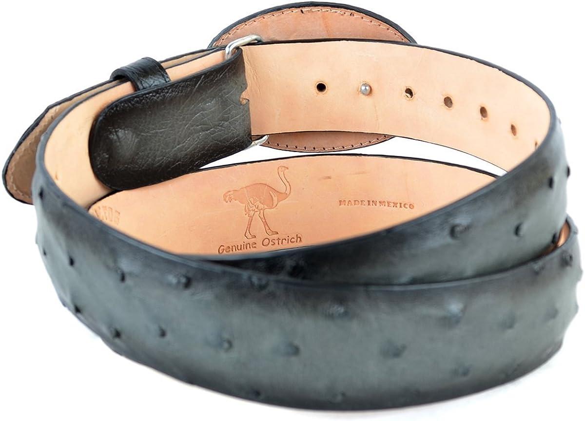 Original Faded Grey Ostrich Skin Western Style Belt