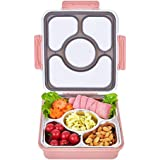 FIRST-MALL Leak-Proof Bento Style Lunch Box - Stainless Steel Versatile 4 Compartment Food Containers - On-The-Go Meal and Snack - BPA-Free and Food-Safe Materials, Ideal for Adults &Teenagers (PINK1)