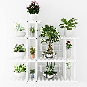FancoYard Multi Tier Display Plant Stand, Decor Flower helf Indoor/Outdoor Layer Garden Planter Sturdy Wood Flowerpots Organizer Rack for Patio Home Yard Balcony Decoration, White