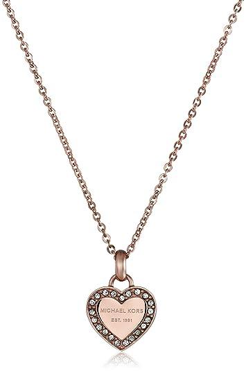 a75d36710de53 Michael Kors Rose Gold Tone Logo Heart Pendant Necklace  Amazon.co.uk   Jewellery