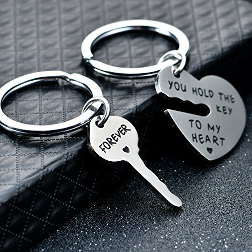 2pcs Couple Key Chain Ring Set - You hold the key to my heart & Forever - Love Heart Key Locks Lover Gift Photo #6