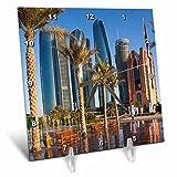 3dRose Danita Delimont - Cities - UAE, Abu Dhabi. Etihad Towers and Emirates Palace Hotel fountains - 6x6 Desk Clock (dc_277135_1)