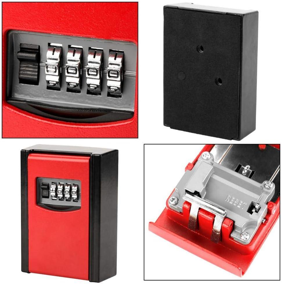 Key Safe Lock Box 4 Digit Combination Password Key Storage Box Wall Mounted Safety Lock Tool Red
