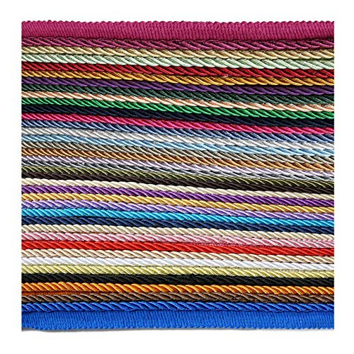 (6mm Silky Barley Twist Cord & 16mm Flanged Insertion Piping Upholstery Crafts Trimming, 36 Colors. High Strength, Durable & Versatile. Neotrims)